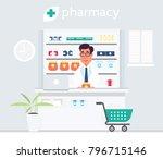 pharmacist behind the cash desk.... | Shutterstock .eps vector #796715146