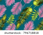 seamless watercolor floral...   Shutterstock . vector #796718818