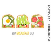set of three cute different...   Shutterstock .eps vector #796721905