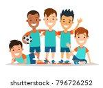 flat style children football...   Shutterstock .eps vector #796726252