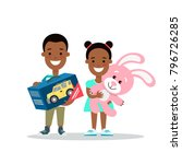 flat black children with gifts... | Shutterstock .eps vector #796726285