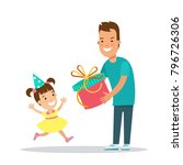 flat family children vector... | Shutterstock .eps vector #796726306
