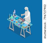 flat 3d isometric science lab... | Shutterstock .eps vector #796727902