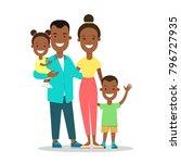 flat black family with children ... | Shutterstock .eps vector #796727935