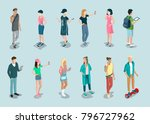 flat isometric casual fashion... | Shutterstock .eps vector #796727962