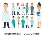 flat male and female doctors... | Shutterstock .eps vector #796727986