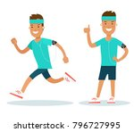 flat style male athlete running ... | Shutterstock .eps vector #796727995