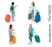 flat isometric woman teens with ... | Shutterstock .eps vector #796728022