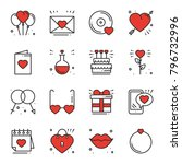 love line icons set. happy... | Shutterstock .eps vector #796732996