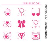 love line icons set. happy... | Shutterstock .eps vector #796733002
