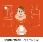 a man drinks milk in the... | Shutterstock .eps vector #796743712