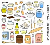 set of hand drawn colored... | Shutterstock .eps vector #796745095