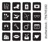 valentines day icons. grunge... | Shutterstock .eps vector #796745182