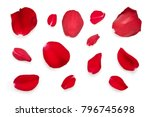 Stock photo red rose petals isolated on a white background 796745698