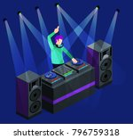 isometric 3d dj party on stage... | Shutterstock . vector #796759318