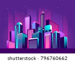 vector illustration of a night... | Shutterstock .eps vector #796760662