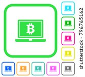 laptop with bitcoin sign vivid... | Shutterstock .eps vector #796765162