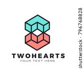 two geometric hearts... | Shutterstock .eps vector #796768828