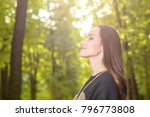 woman breathing fresh air in a... | Shutterstock . vector #796773808