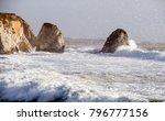 view of the rough sea through... | Shutterstock . vector #796777156
