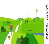 green valley landscape. comic... | Shutterstock .eps vector #796778596
