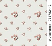 fashion pattern with pink nude... | Shutterstock .eps vector #796782442