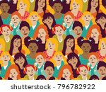 girls group and crowd seamless... | Shutterstock .eps vector #796782922