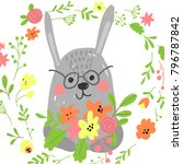 pretty rabbit with flowers | Shutterstock .eps vector #796787842
