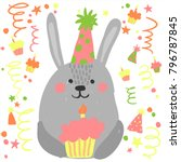 cute birthday rabbit with... | Shutterstock .eps vector #796787845