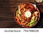 game day platter with appetizers | Shutterstock . vector #796788028