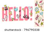 hello lettering with girly... | Shutterstock .eps vector #796790338