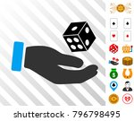 hand play dice icon with bonus...