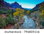 the virgin river flows west... | Shutterstock . vector #796805116