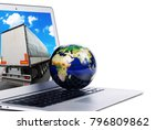 world globe on the silver... | Shutterstock . vector #796809862
