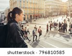 young traveler woman admiring... | Shutterstock . vector #796810585