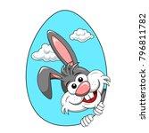 cute rabbit or bunny peek a boo ... | Shutterstock .eps vector #796811782