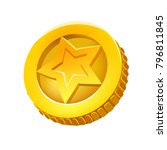 vector cartoon golden coin for...