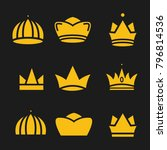 crown set royal king vector... | Shutterstock .eps vector #796814536