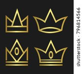 crown set royal king vector... | Shutterstock .eps vector #796814566