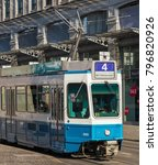 Small photo of Zurich, Switzerland - 29 January, 2017: a tram passing along the Limmatquai . Trams have been a consistent part of Zurich's cityscape since the 1880s, when the first horse tram ran.