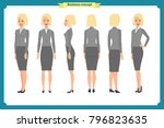 set of businesswoman character... | Shutterstock .eps vector #796823635
