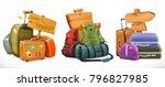 travel. bag  backpack  suitcase ... | Shutterstock .eps vector #796827985