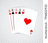 a poker hand full house three... | Shutterstock .eps vector #796832932