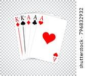 a poker hand full house three... | Shutterstock .eps vector #796832932