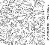 seamless mehndi vector pattern. ... | Shutterstock .eps vector #796840672