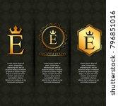 gold luxury elegant letter e... | Shutterstock .eps vector #796851016