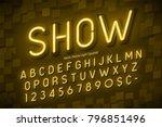 neon light 3d alphabet  extra... | Shutterstock .eps vector #796851496