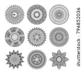 set of mandalas round floral... | Shutterstock .eps vector #796852036