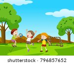three boys playing ball in the... | Shutterstock .eps vector #796857652