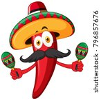 red chili wearing hat and... | Shutterstock .eps vector #796857676